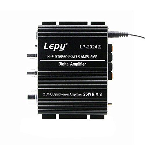 LEPY 新モデル LP-2024S(ブラック)最新版 デジタルアンプ 2024A+ の 改良版 オリジナル PSE認証 12V 5A (本体+高級RCA ステレオオーディオ ケーブル+ACアダプタ 12V5A +aux ケーブル) [並行輸入品]