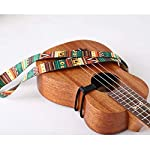 Eleyam ウクレレ ストラップ ミニギター クラシックスタイルのネックストラップ マルチカラー グリーン