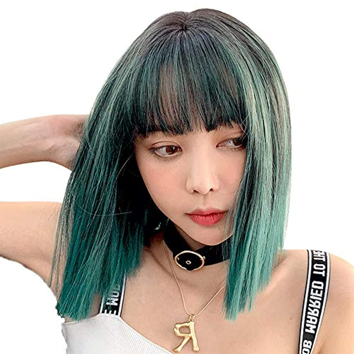 トラップ最大化する赤道SRY-Wigファッション グリーングレーパーティーコスプレウィッグショートウォーターウェーブヘア合成ファッションウィッグ黒人女性用