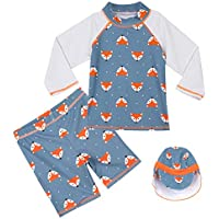 COSLAND Kids Boys' Three Piece Swimwear Sets with Hat UPF 50+