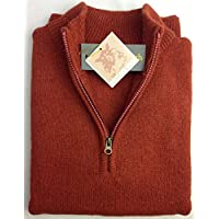 jacksmith Men's Shetland Wool 1/4 Zip Up Cardigan Sweater Knitted Jumper Pullover (XXXXX-Large, Rust)