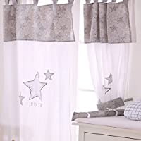 グレーLittle Star 4ピースベビーベッド寝具セット Curtain グレー DAME-GREY-LITTLE-STAR-CURTAIN