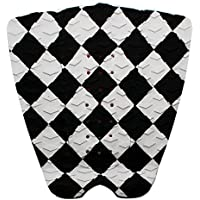 ロゴ無し サーフィン デッキパッド テールパッド スリーピース 3P サーフボード ショート ファンボード  (白黒チェック)