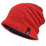 [Ruphedy]  ニット帽 メンズ 大きめ オールシーズン ゆったり ゆるシルエットのニットキャップ 柔らかい 無地 ラインリング B08 (レッド)