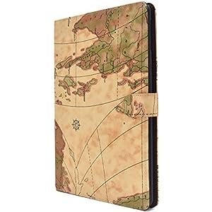 PLATA iPad 9.7インチ 2017 iPad 第5世代 / 2018 iPad 第6世代 ケース 手帳型 地図 デザイン ポーチ カバー アイパッド IPD7-53-01