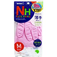 ナイスハンドミュー 薄手 手袋 Mサイズ ピンク×10個セット