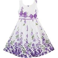 Sunny Fashion Girls Dress Purple Rose Flower Double Bow Tie Party Kids Sundress