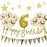 6歳 誕生日 飾り付け 21点 セット - Gehome ゴールド バースデー バルーン 飾り 男の子と女の子用(1歳〜9歳)