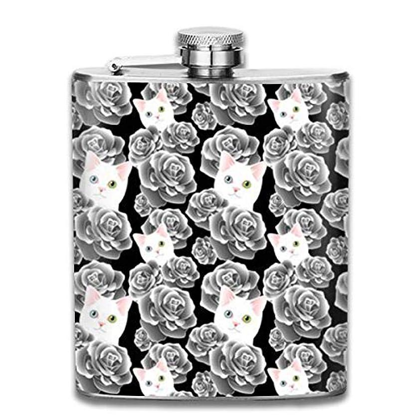 まばたき暗殺時代白猫とバラフラスコ スキットル ヒップフラスコ 7オンス 206ml 高品質ステンレス製 ウイスキー アルコール 清酒 携帯 ボトル
