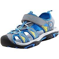 Gaorui Boys' Closed Toe Sport Sandals Soft Leather Beach Flat Shoes