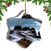 Weekino台湾野柳地質公園新北クリスマスオーナメントクリスマスツリーペンダントデコレーション旅行お土産コレクション陶器両面デザイン3インチ