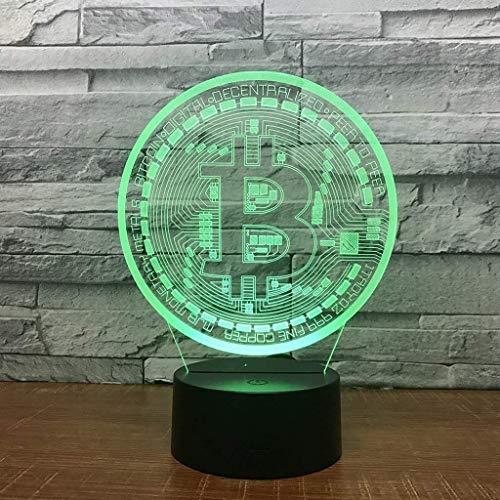 WJGRB ビットコインの3Dイリュージョンナイトライト、LED表デスクはカラフルなタッチスイッチUSB充電装飾ランプ子供の誕生日ビジネス広告の贈り物(色、7色のリモートコントロール+タッチ)、7コロコロランプ. 3Dナイトライト (Color : 5 Colors Bluetooth Audio)