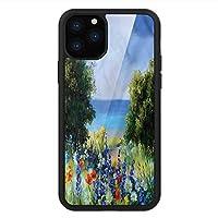 iPhone 11 Pro Max 用 強化ガラスケース クリア 薄型 耐衝撃 黒 カバーケース フラワー ロマンティックブーケホワイトローズ iPhone 11 Pro 2019用 iPhone11 Proケース用