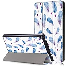 All Amazon Fire HD 8 Slim-Fit Lightweight Trifold Cover Stand xinyitong Smart Cover Case with Auto Sleep/Wake for Amazon Fire HD 8 (7th Generation, 2017,2018 Release) (Feather)