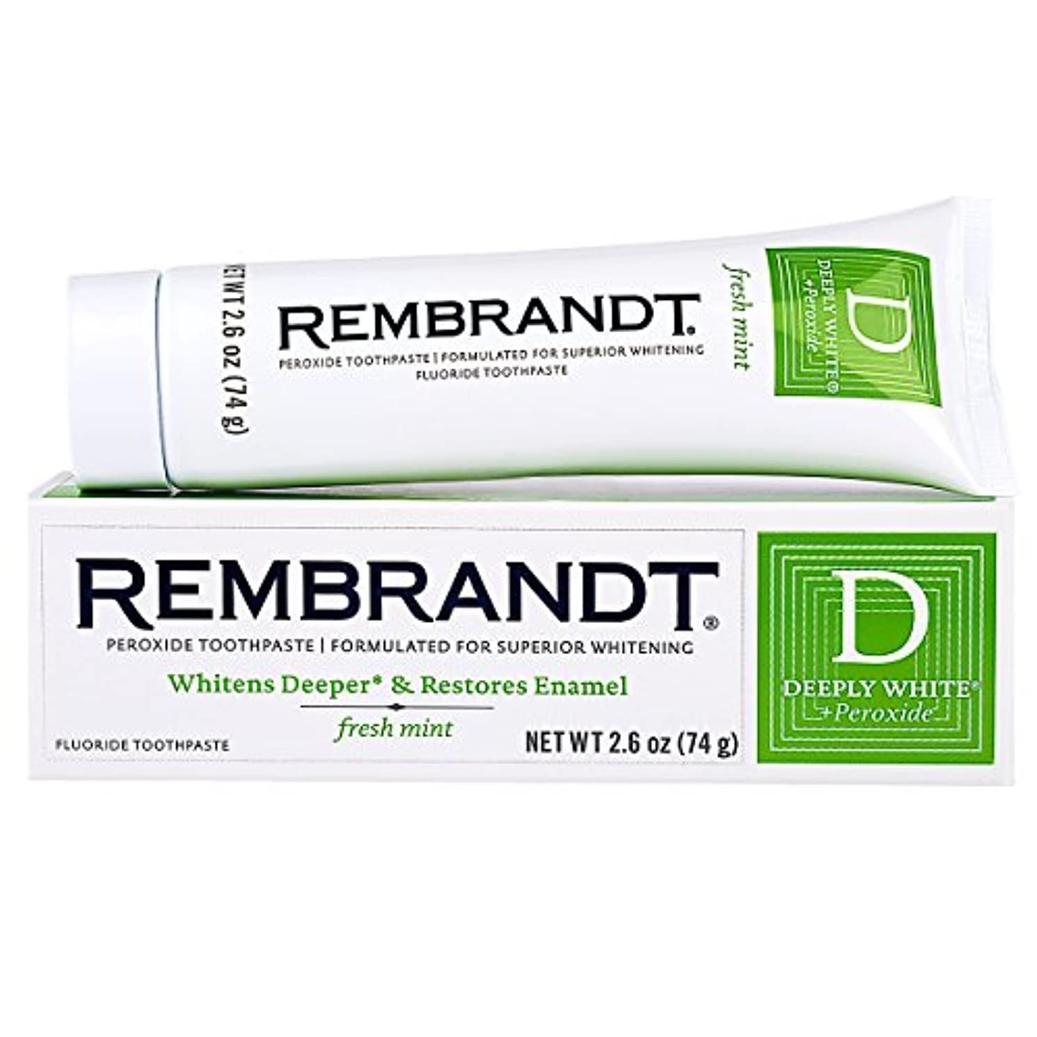 私達ふざけた回答Rembrandt フッ化物に深くホワイト+過酸化物ホワイトニング歯磨き、フレッシュミント2.6オンス(8パック)