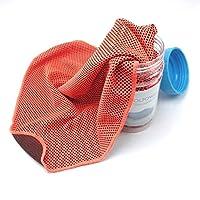 Dingfei 反熱射病冷却タオルスポーツタオルスポーツ、水泳、女性、ヨガ、ワークアウト、スポーツ選手、ジム、首、ゴルフ、旅行用クールタオル (Color : Orange)