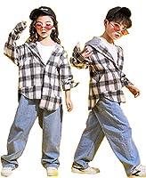 TRVELBETTダンス衣装 キッズダンス ヒップホップ ダンス 上下 男の子 女の子 パーカー フード付き ギンガムチェック ズボン 男女兼用 長袖 チェック柄シャツ ガールズ ジャッズ ヒップホップ 演出服 ダンスウェア ジュニア jazz DJ オシャレ  (グレーシャツ+ズボン, 120)