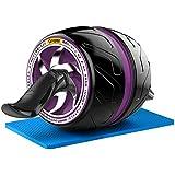NAKO 腹筋ローラー エクササイズローラー 筋トレ アブホイール 膝マット付き スリムトレーナー トレーニング アシスト機能(パープル)