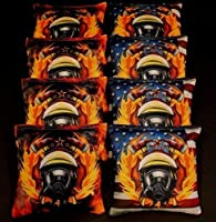 USA Firefighter Rescueガスマスク炎8ACA Regulation Cornhole Beanバッグb218