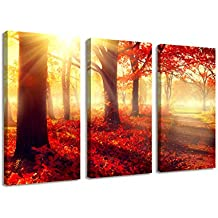 BIL-YOPIN 3 Panels Stretched Canvas Prints Beautiful Red Forest Landscape Modern Wall Art Paintings for Living Room and Bedroom (16x32inchx3pcs, Forest Landscape)