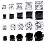 スタッドピアス 5mm (ホワイトとブラックキュービックジルコニア)サージカルステンレス レディース メンズ イヤリング 片耳用 5mm Stainless Steel Stud Earring (Black & White CZ) TEEST-0003 (BLACK SQUARE, ステンレス)