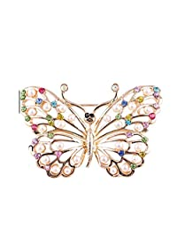 Dwcly Fashion Crystal Rhinestone Flower Butterfly Peacock Brooches Pins Breastpin for Wedding Bouquet Clothes Collar Lapel Scarf Buckle