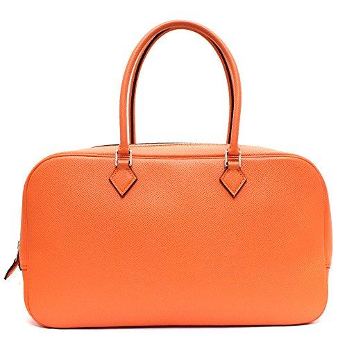 HERMES(エルメス) 美品 プリュム エラン28 ヴォーエプソン ハンドバッグ オレンジ □R刻印 シルバー金具 (中古) バッグ レディース
