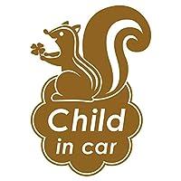 imoninn CHILD in car ステッカー 【シンプル版】 No.36 リスさん (ゴールドメタリック)