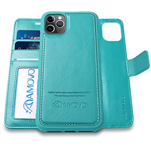 AMOVO iPhone 11 Pro ケース 手帳型 分離式 マグネット 取り外し自由 ワイヤレス充電に対応 カード収納 横開き スタンド機能 アイフォン 11 Pro 手帳カバー (iPhone 11 Pro 5.8インチ, ターコイズブルー)