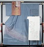 着物セット 染め大島紬洒落訪問着と洒落袋帯、長襦袢、帯揚げ、帯〆の5点セット  正絹 【中古】
