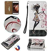 OMATENTI Huawei P10 Plus手帳ケース 手帳カバー 液晶保護 吸着の機能 Huawei P10 Plus 横置き 耐久性 携帯カバー レザー ケース [ストラップ付き] - (3-女の子)