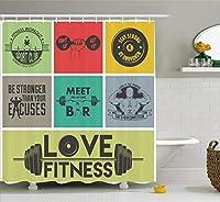 "Fitnessシャワーカーテンby Ambesonne、さまざまなモチベーション引用符でカラフルなフレームGet FitアクティブHealthy Lifestyle、ファブリックバスルームDecorセットwithフック、マルチカラー 69"" W By 70"" L sc_36983"