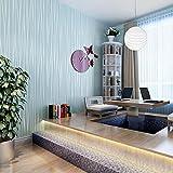 SMILE DIY 3D立体 壁紙 シール 簡単 模様替え のり付き 壁紙シール 不織布 はがせる 壁紙 ストライプ柄 月光の森 53cmx5m (ライトブルー)