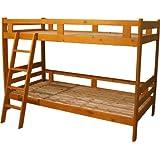 木製二段ベッド 二段ベッド 2段ベッド シングルベッド すのこベッド シンプルデザイン3色選べる(MS) (ブラウン)