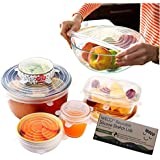 Silicone Stretch Lids 6 Pack (Clear) By A Thousand Trees   6 Sizes Reusable, Expandable and Durable Lids to Keep Food Fresh   Leak Proof and Heat Resistant   Fit Various Sizes and Shapes of Containers   Food Grade Silicone, Eco-Friendly and BPA-FREE   Container Lids, Container Covers and Bowl Covers