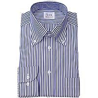 ワイシャツ メンズ長袖(ドレスシャツ)ボタンダウン 80番手双糸 ネイビーロンドンストライプ 軽井沢シャツ [A10KZB407]