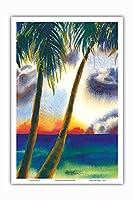 空中に音楽があります - ハワイアンサンセット - オリジナルハワイ水彩画から によって作成された ペギー チュン - アートポスター - 31cm x 46cm