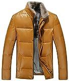 (ラクエスト) Laquest 本革 ダウンジャケット 羊革 ホワイトダックダウン メンズ (XL,マスタード)
