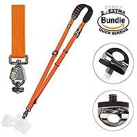 BlackRapid Cross Shot Breathe Camera Strap Orange #361002 - with Extra (2) ZONOZ SMS-5 Neck Strap Mount Screw FastenRz (Bundle) [並行輸入品]