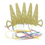 ユニコーンパーティー帽子GlitterゴールドユニコーンテーマパーティーSupplies for Kids誕生日ベビーシャワー15個パックby Shxstore