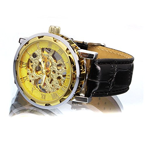Bienna 腕時計 レザーバンド アンティーク風 スケルトン 機械式 手巻き アナログ表示 ローマ数字 クラシック メンズ レディース 兼用(金+金+金)