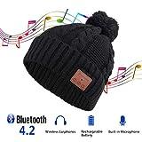 Bluetooth帽子 Tectri 音楽帽子 ニット帽 レディース 可愛いワイヤレスイヤホン内蔵帽子 ポンポン 厚手 耳隠れ 着脱式 洗濯可能 USB充電 ハンズフリー スキーやスポーツに最適 プレゼント