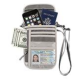 GOWISS パスポートケース ネックポーチ スキミング 海外旅行グッズ 防水 大容量 iPhone 7 Plus収納可 貴重品入れ セキュリティ プレゼント ギフト トラベルポーチ パスポートケース (グレー)