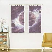 レースカーテンおしゃれ 子供の部屋、寝室居間 幅150x丈100m 2枚入 銀河、宇宙テーマの惑星土星火星海王星サイエンスフィクション太陽シーンArtprint、モーヴパープル