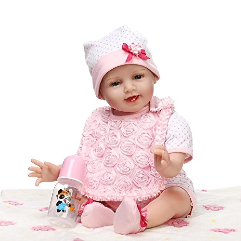 リアルな22 cm Rebornベビー人形ビニール人形ピンクドレスKids Muñecas Reborn