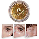 健康と美容アイシャドウ モノクロアイシャドー真珠光沢のある高光沢ステージスパンコールメイクフリーのりグリッターパウダー(ピンク) 化粧 (色 : Gold)