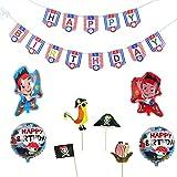 海賊 誕生日 飾り付け 可愛い 男の子 子供 面白い レッド ブルー バルーン 風船 ケーキトッパー happy birthday ガーランド ワンピース 海賊王 25枚セット