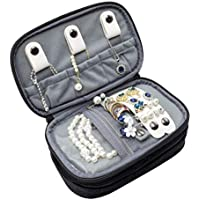 ProCase Jewelry Travel Case Organizer Bag, Soft Padded Double Layer Jewelry Carrying Pouch Portable Jewelry Storage Holder for Earrings, Rings, Necklaces, Watch and Chains –Black