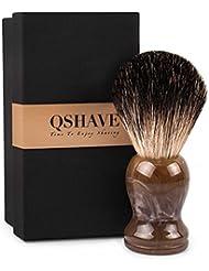 QSHAVE 100%アナグマ毛 オリジナルハンドメイドシェービングブラシ。ウェットシェービング、安全カミソリ、両刃カミソリに最適