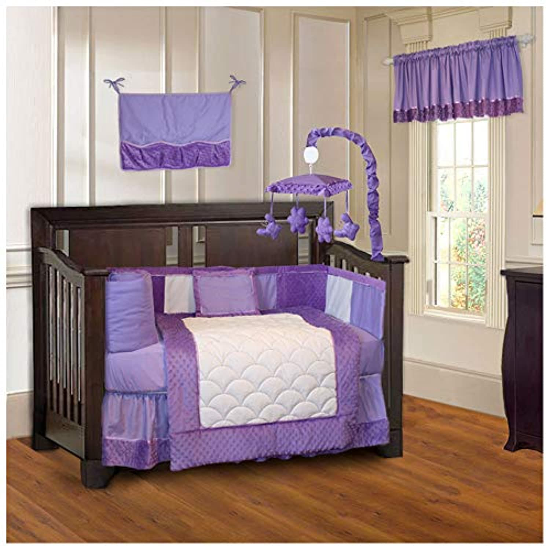 BabyFad Minky Purple 10 Piece Baby Crib Bedding Set by BabyFad